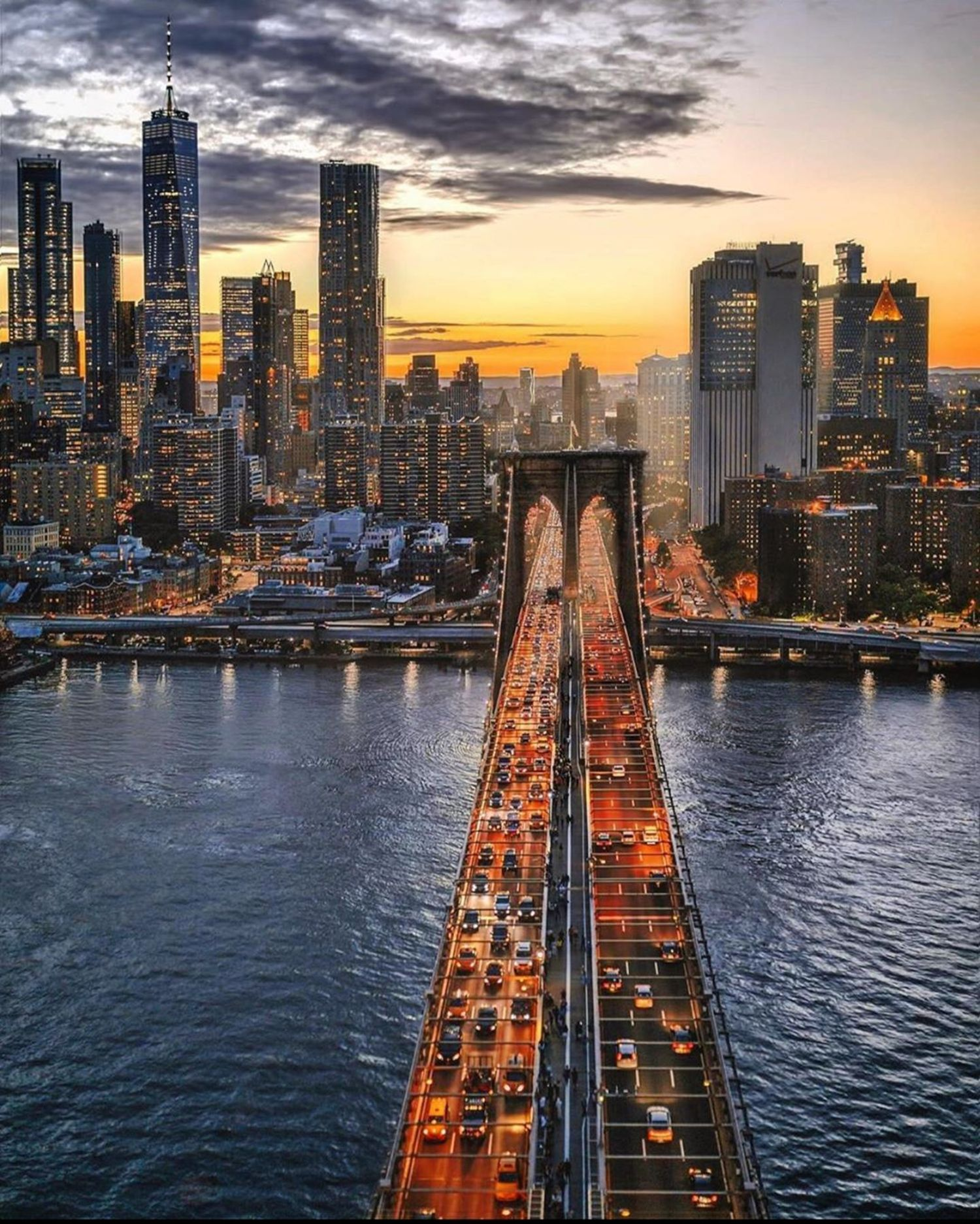 Brooklyn Bridge at Sundown, New York, New York