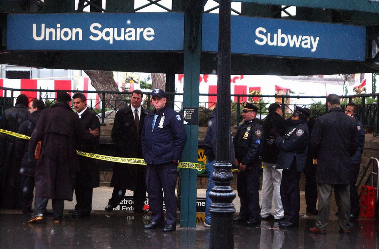 2000's: With 9/11 still fresh in the minds of many, cops crowded the entrance to the subway station at Union Square in 2002 after 20 to 30 suspicious packages emblazoned with the word 'fear' were found. Emergency services, the bomb squad and crime scene units were called to the scene.