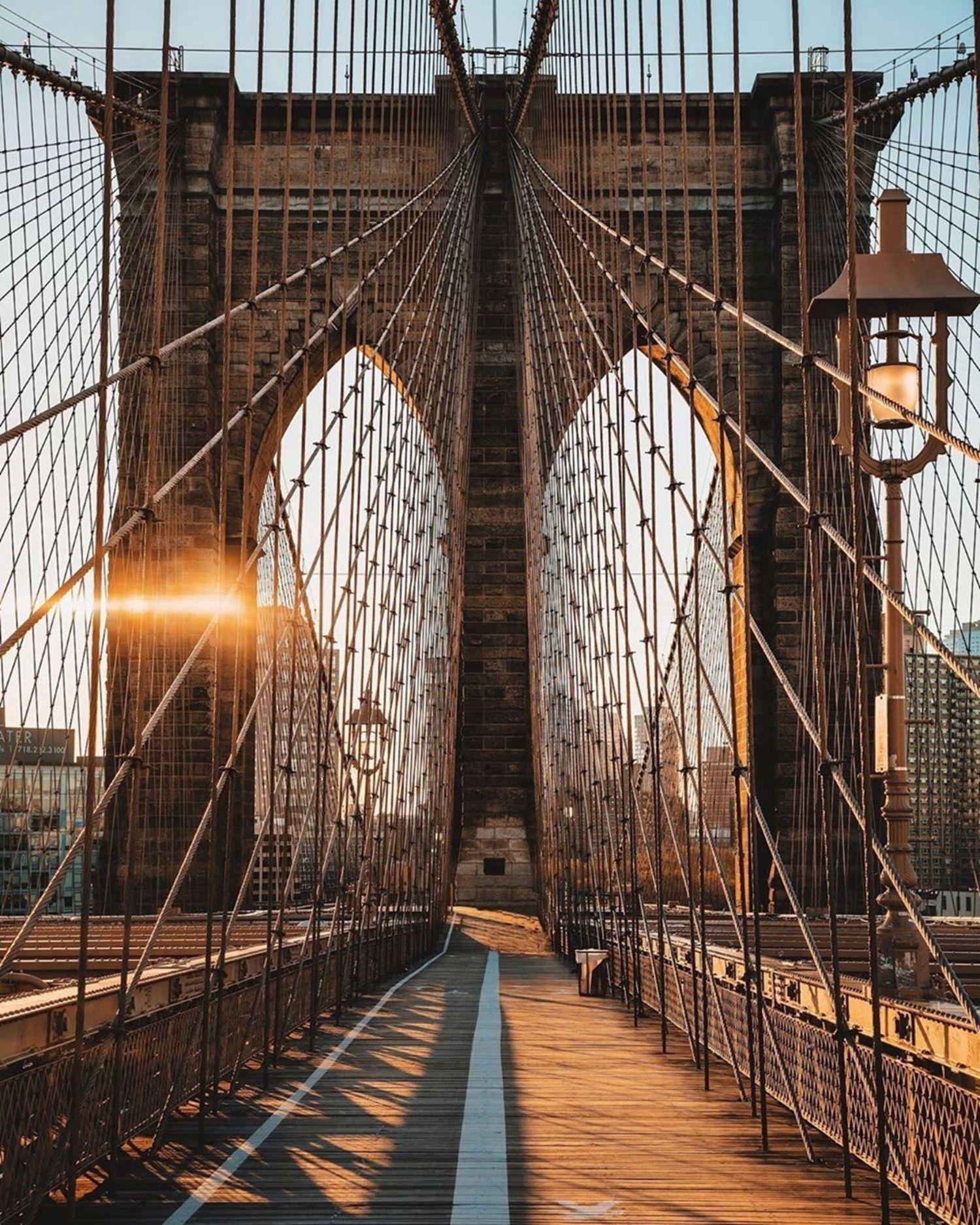 Sunrise on the Brooklyn Bridge. Photo via @joethommas #viewingnyc #nyc #newyork #newyorkcity #brooklynbridge #sunrise