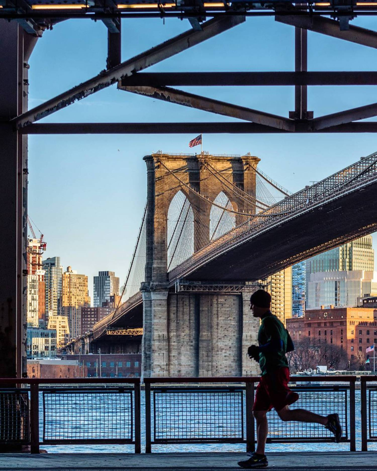 First day in NYC 🗽 Running at Brooklyn Bridge 🌉 #NewYork