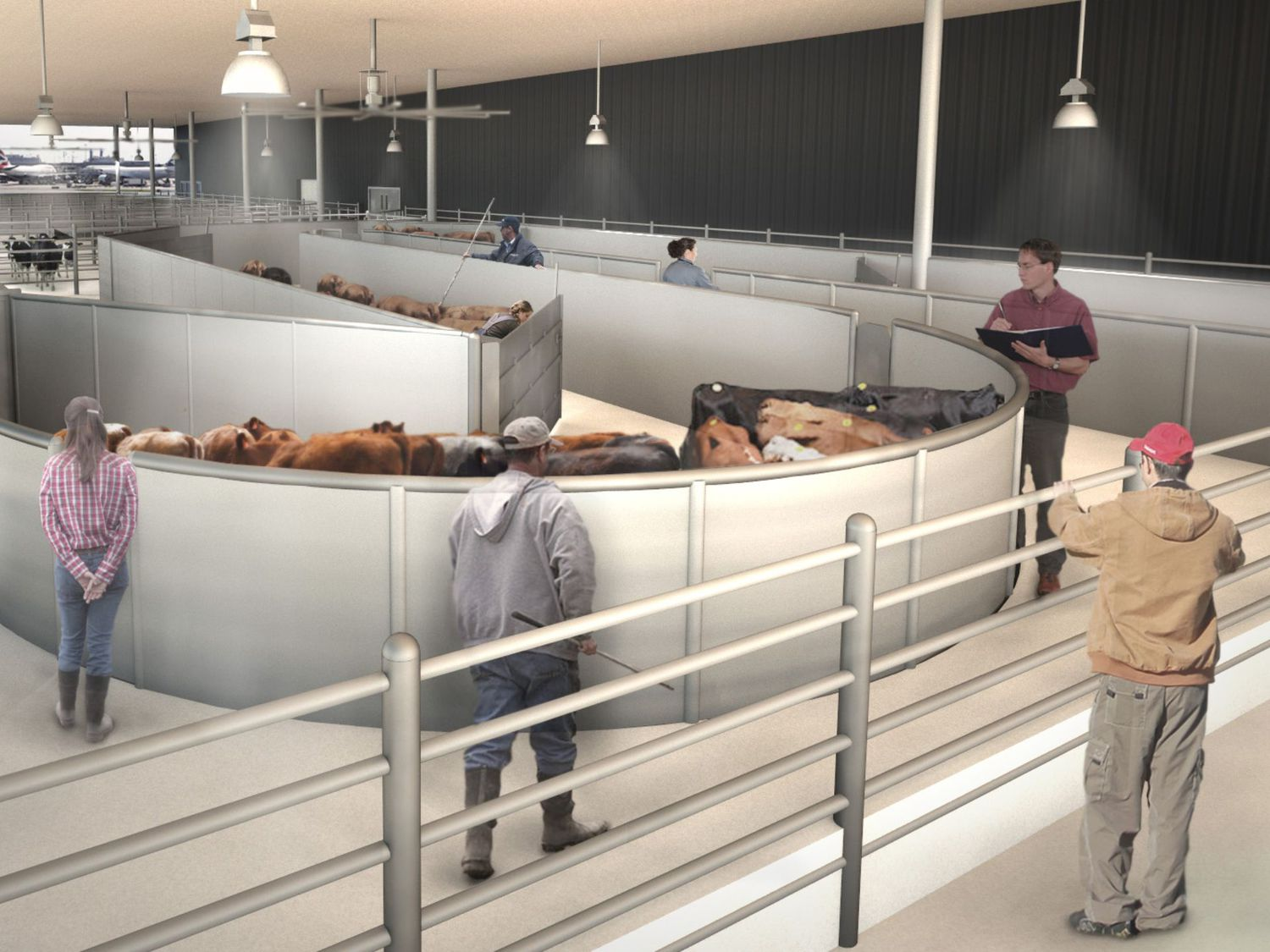This undated artist rendering courtesy of ARK Development shows a cattle handling area at a new luxury terminal planned for NYC's JFK Airport.