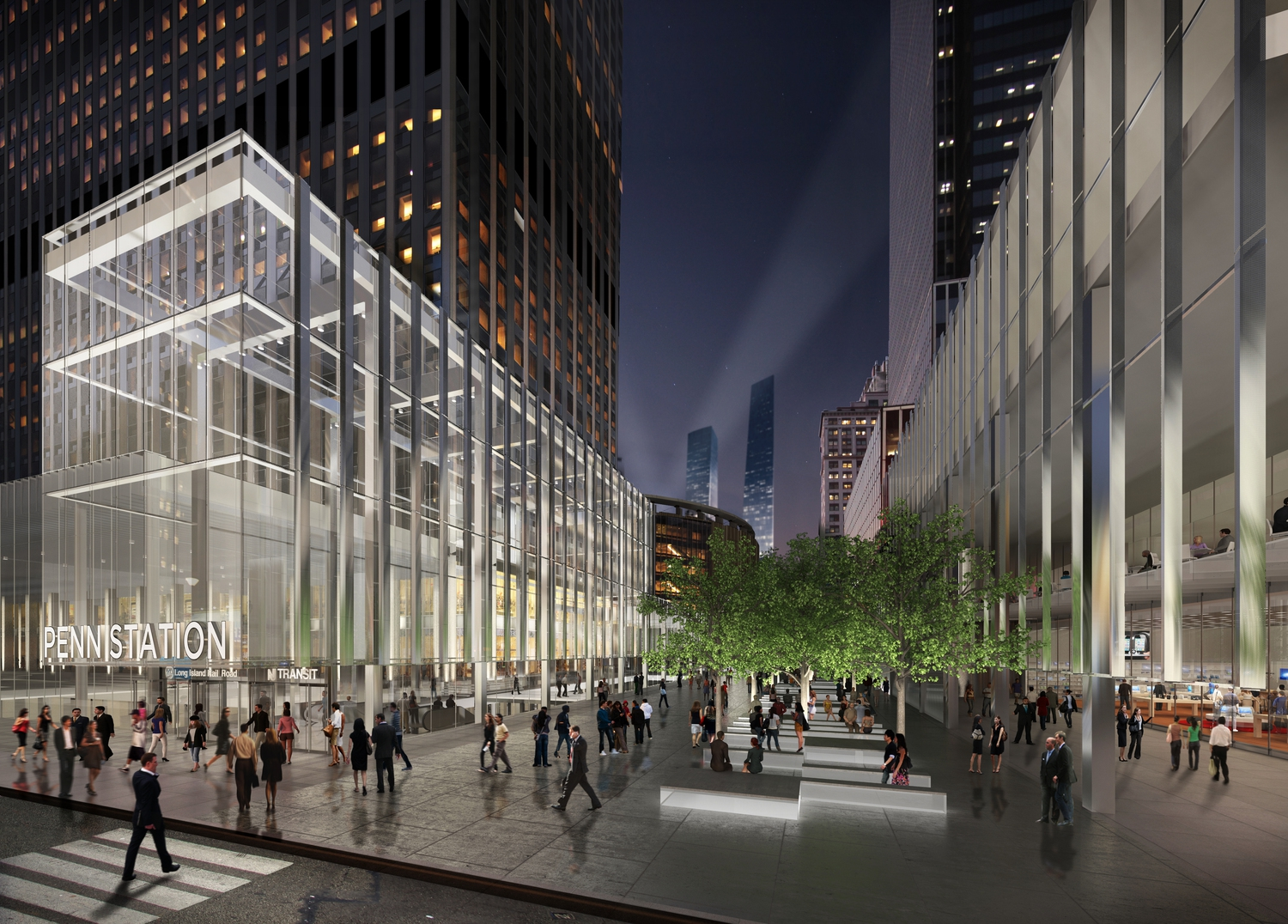 Empire Station Complex: 33rd Street Entrance by Night | Close 33rd Street and use skylights and new entrance to bring natural light to the concourse below.