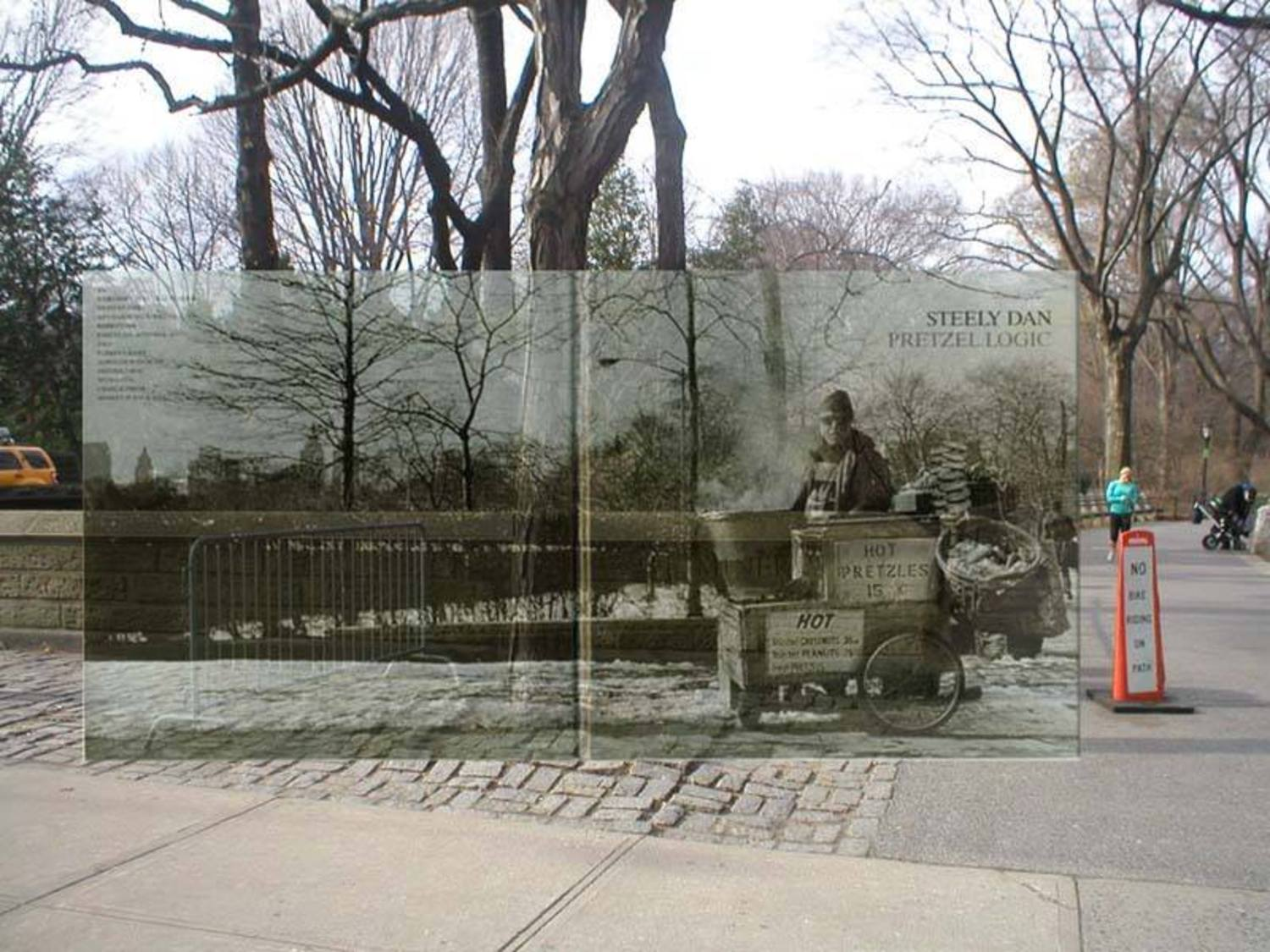 "PRETZEL LOGIC by STEELY DAN (1974). . .Location: Fifth Avenue and 79th Street, west side of street, at the entrance to Central Park known as ""Miner's Gate"" just below The Metropolitan Museum of Art.. . .photo by Reanne Rubenstein. . .With the passing of Walter Becker this week, I thought I'd repost this early PopSpot of the location of Pretzel Logic . . .In the New York Times obituary of Walter Becker today, they wrote this of Steely Dan's sophisticated but popular sound:  ""Meanwhile the music used richly ambiguous harmonies rooted in Debussy, Duke Ellington, Charlier Parker and Sonny Rollins, giving the songs a sophisticated core that would be widely influential across jazz and pop."" . . .(By the way, the official NYC Park prices for those 15-cent pretzels would be $2.00 today. (They are spelled ""pretzles"" on the cover.). . . To see the album cover location in Google Street View, click here: http://bit.ly/2eyfaKs  . . .  For the original PopSpot story of searching for  the location, click here:  http://www.popspotsnyc.com/pretzel_logic/"