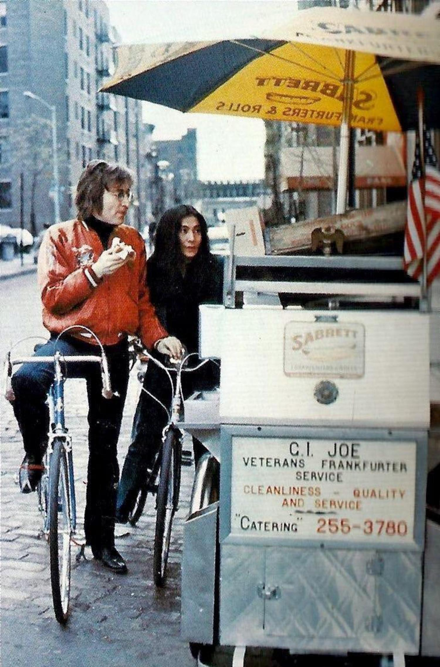 Vintage Photograph Of John Lennon And Yoko Ono Buying A Hot Dog From A Nyc Street Cart In 1972 Viewing Nyc