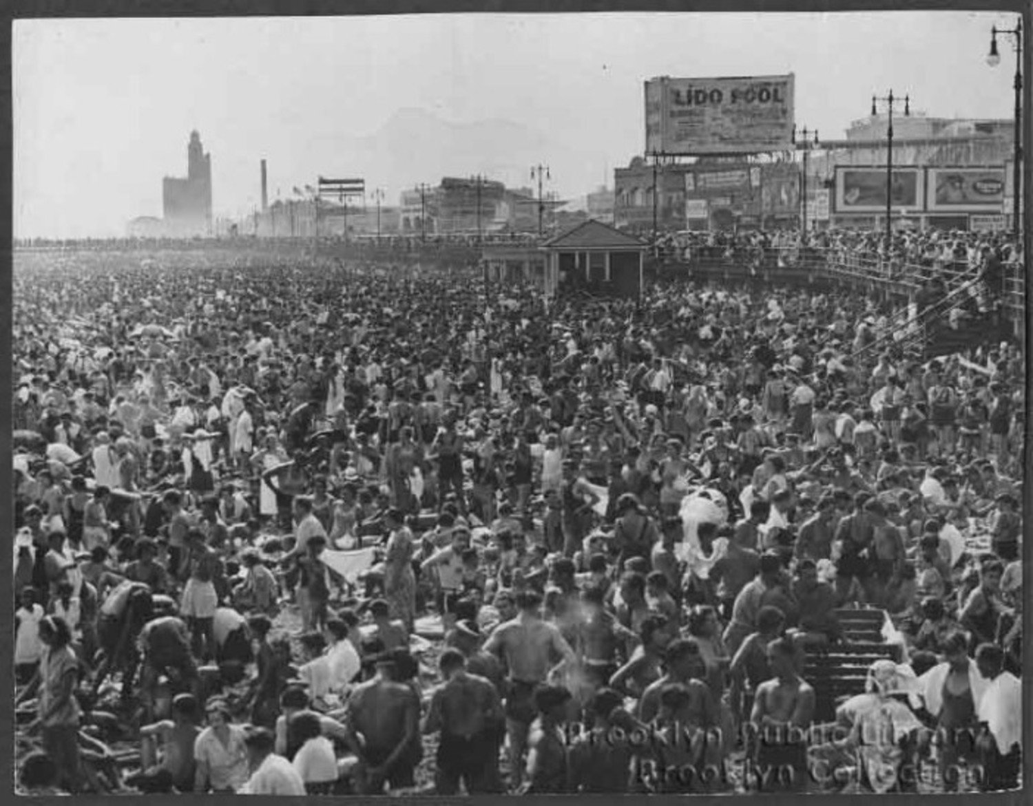 The crowded beach in the 1930s.