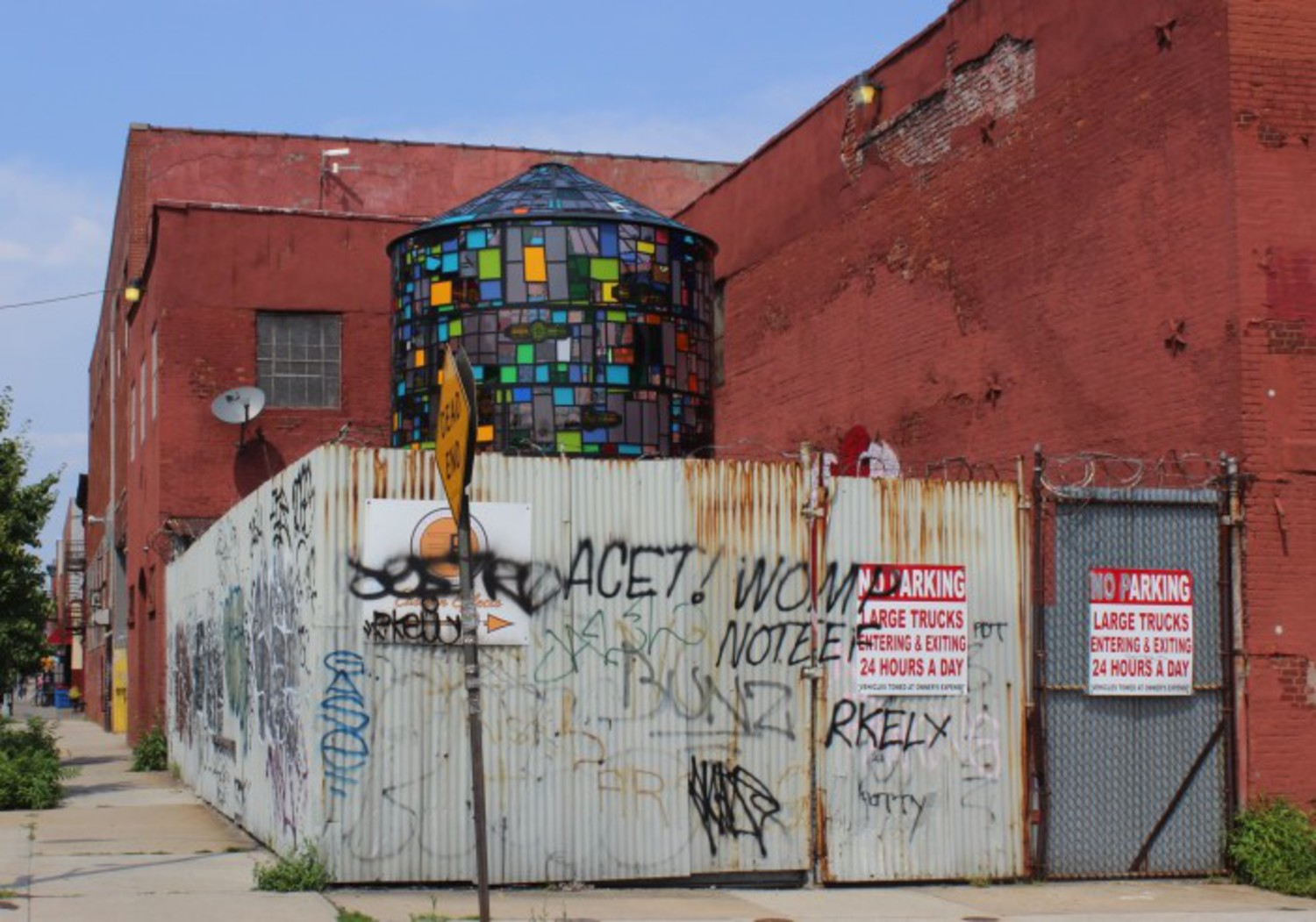 """Dutch Masters"" stained glass water tower by artist Tom Fruin at Ray Smith Studio."