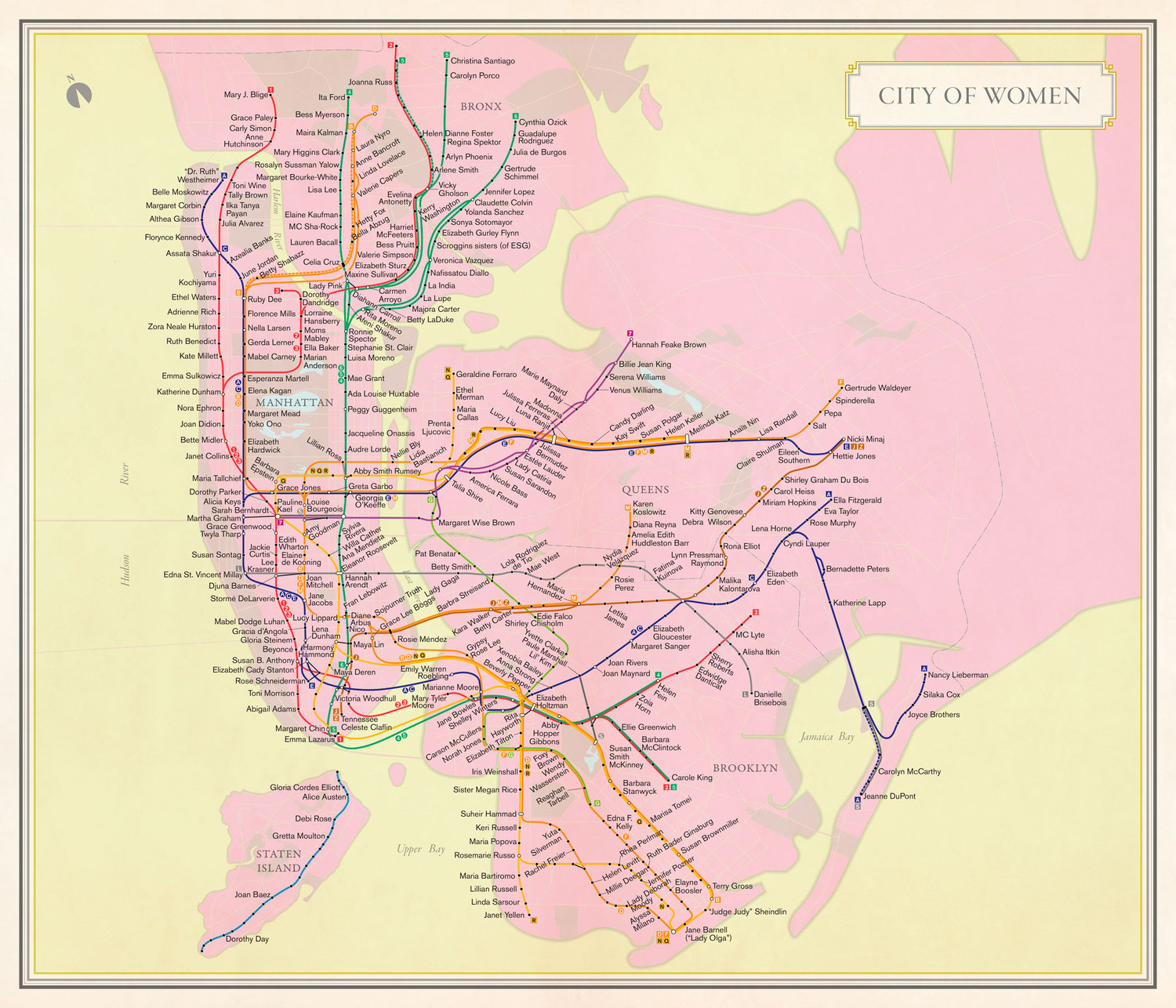 What if the New York City subway map paid homage to some of the city's great women?