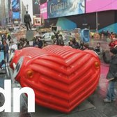 Huge musical heart sculpture beats in New York's Times Square