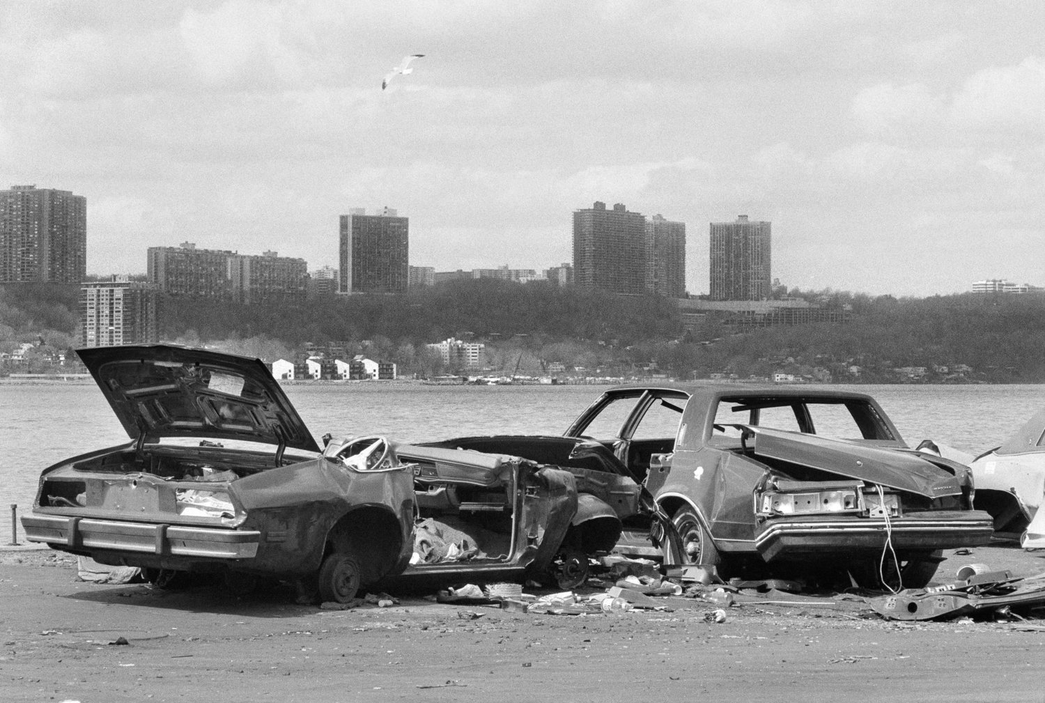 Abandoned cars in the Riverside Park area. April 9, 1985.