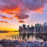 Sunset over Lower Manhattan from Brooklyn Bridge Park