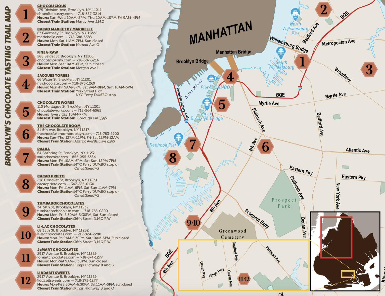 Brooklyn Chocolate Trail Map