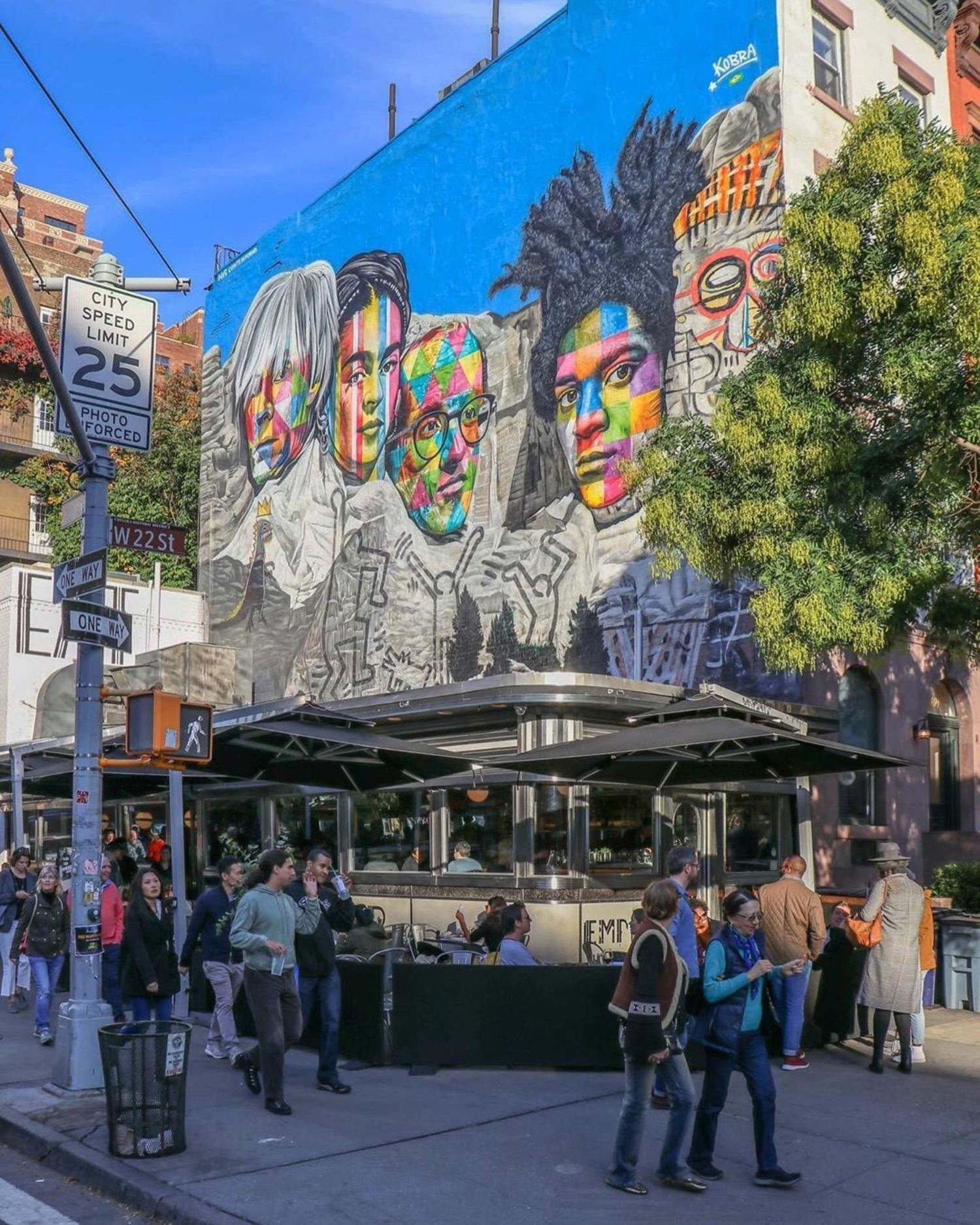 Kobra street art above Empire Diner, Chelsea, Manhattan