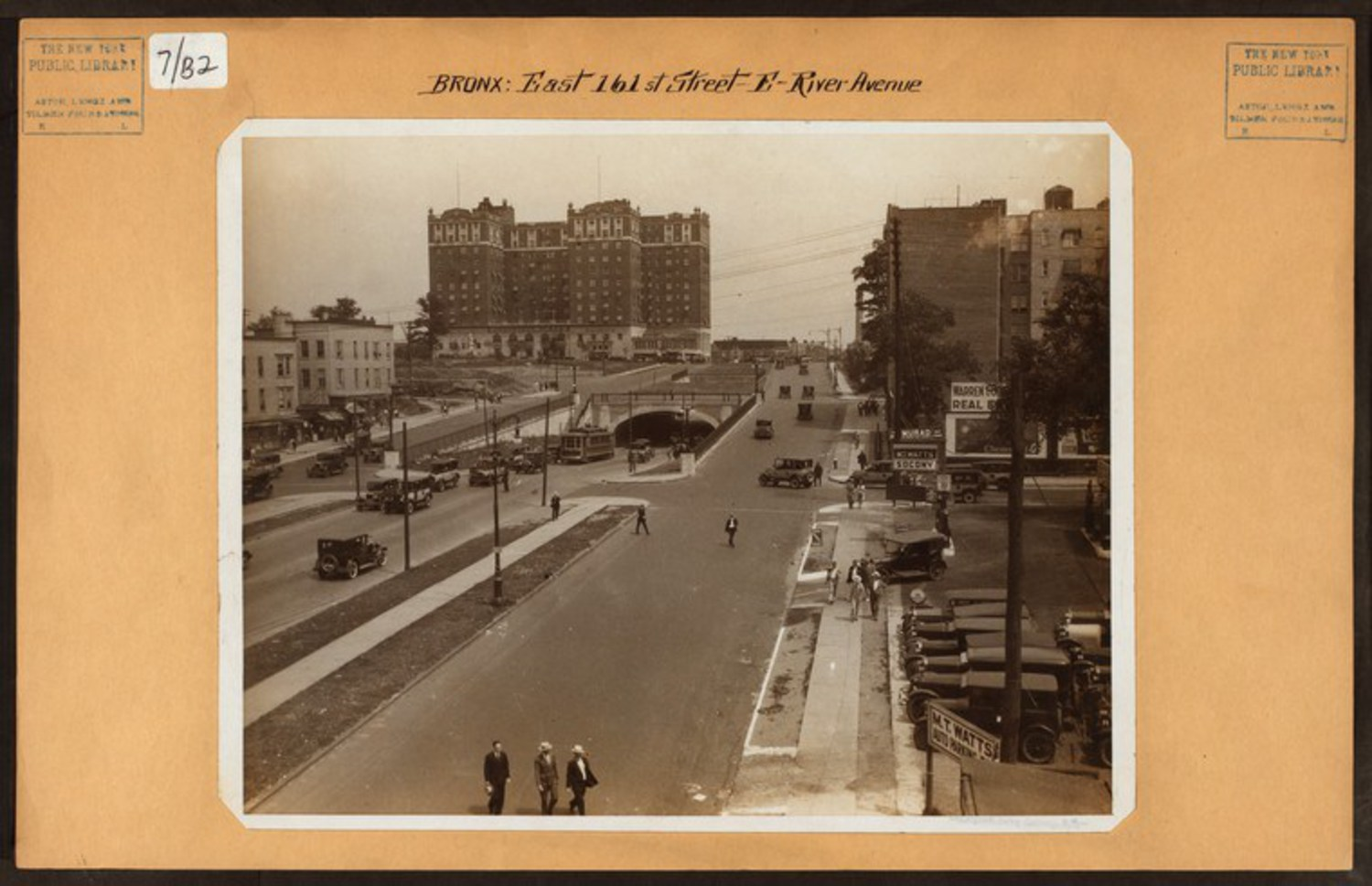 "161st Street looking East towards the Grand Concourse and the Concourse Plaza Hotel / Image Credit: Irma and Paul Milstein Division of United States History, Local History and Genealogy, The New York Public Library. ""Bronx: 161st Street (East) – River Avenue"" The New York Public Library Digital Collections. 1926."
