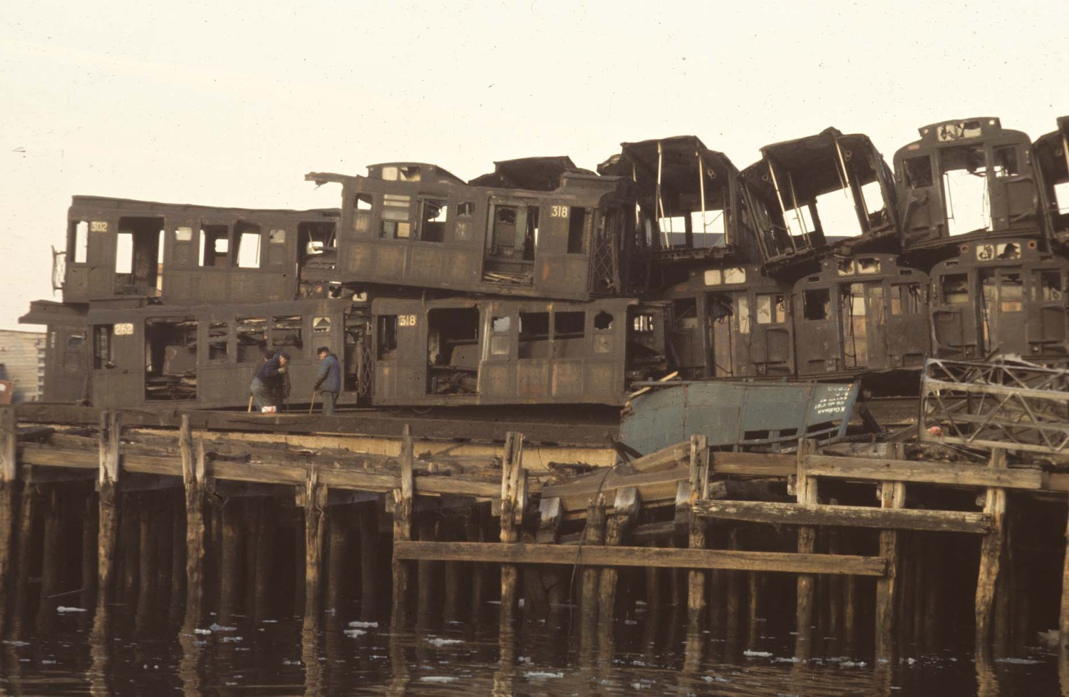 Pier with old subway cars, South Brooklyn, 1970