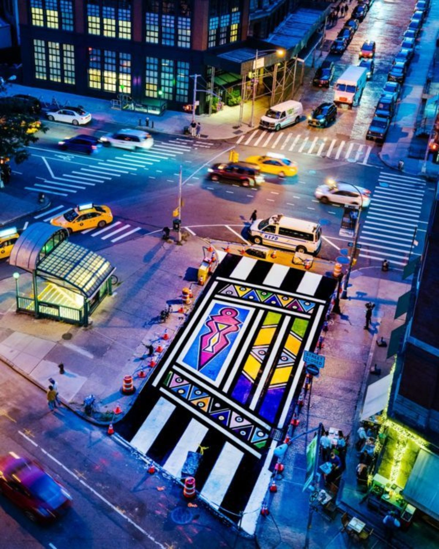 Real street art: Painted pavement beautifies Tribeca street