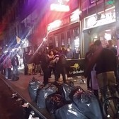 West Village fight outside of Off the Wagon NYC - Dude gets kicked in the face