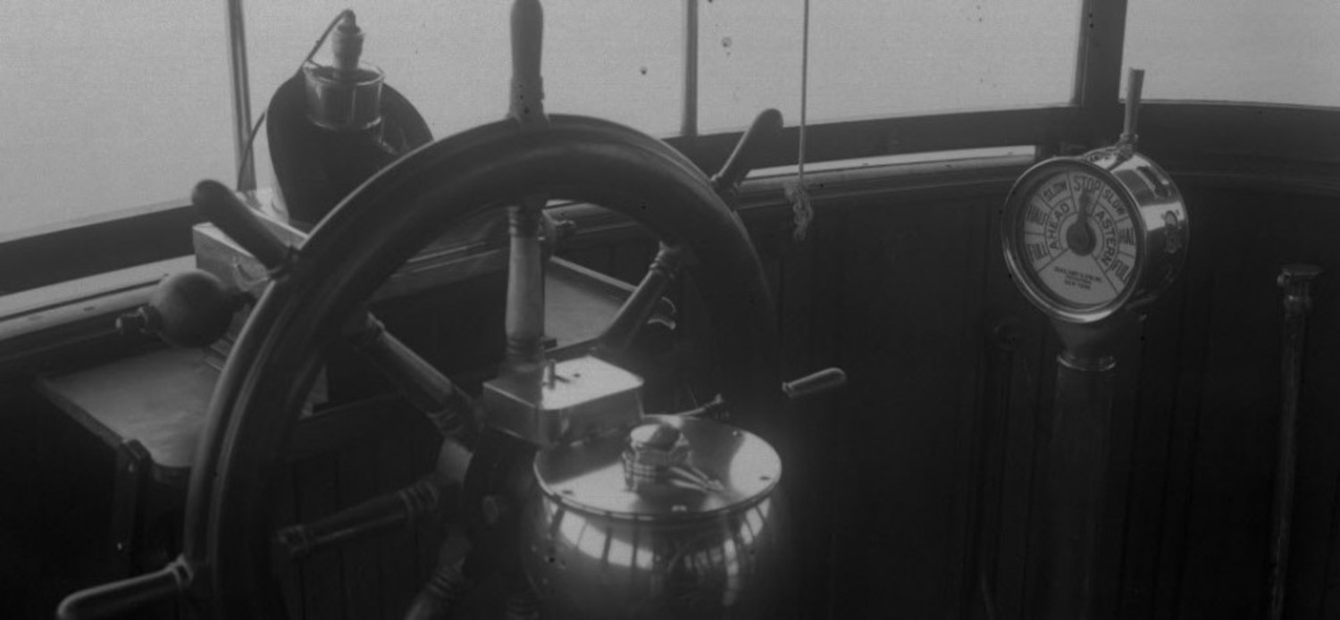 The inside of the wheel house on the ferry boat Dongan Hills, circa 1933.