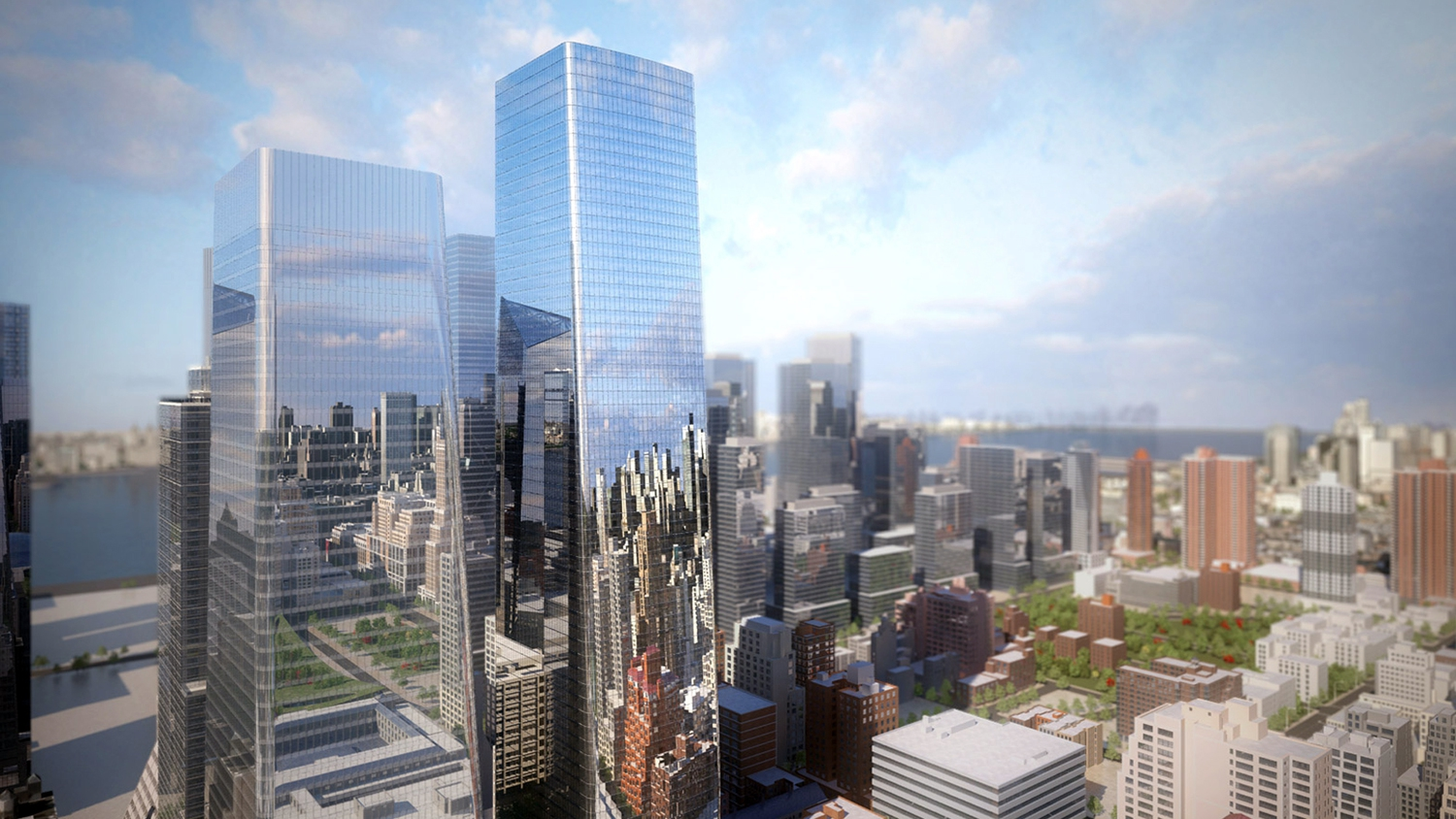 Commissioned by Brookfield Property Partners, the $4.5 billion development encompasses a trio of glass structures including a residential skyscraper and two office buildings, plus a two-acre outdoor plaza and ample commercial space.