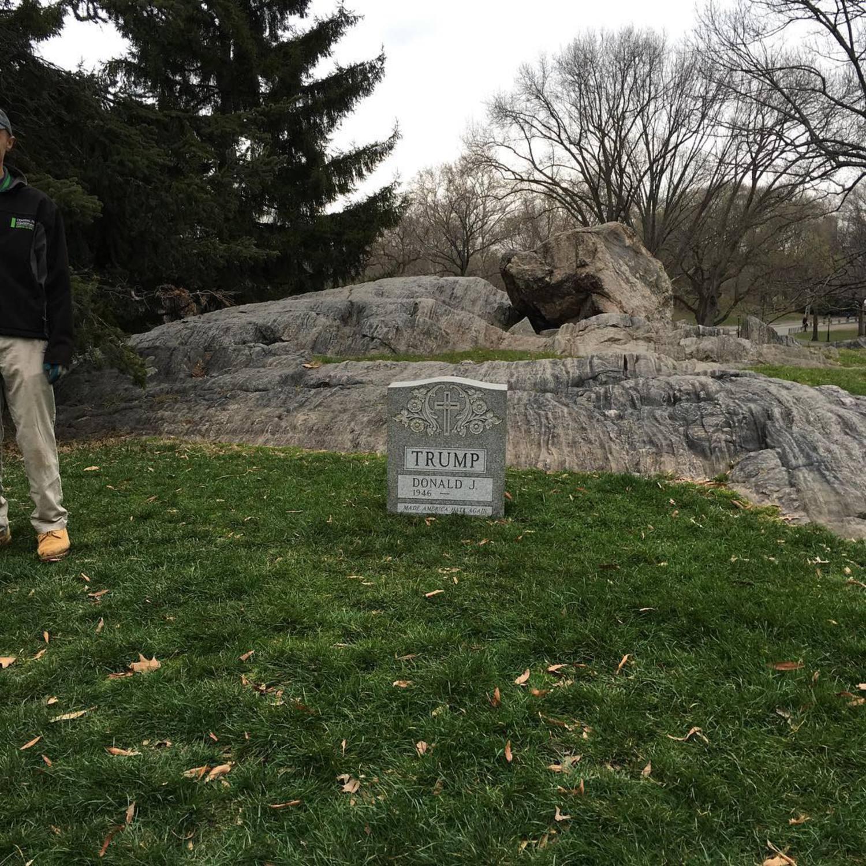 Central park trump tombstone #donaldtrumpsucks #donaldtrump #centralpark #funny #deathlyfunny #dog #centralparkdogs