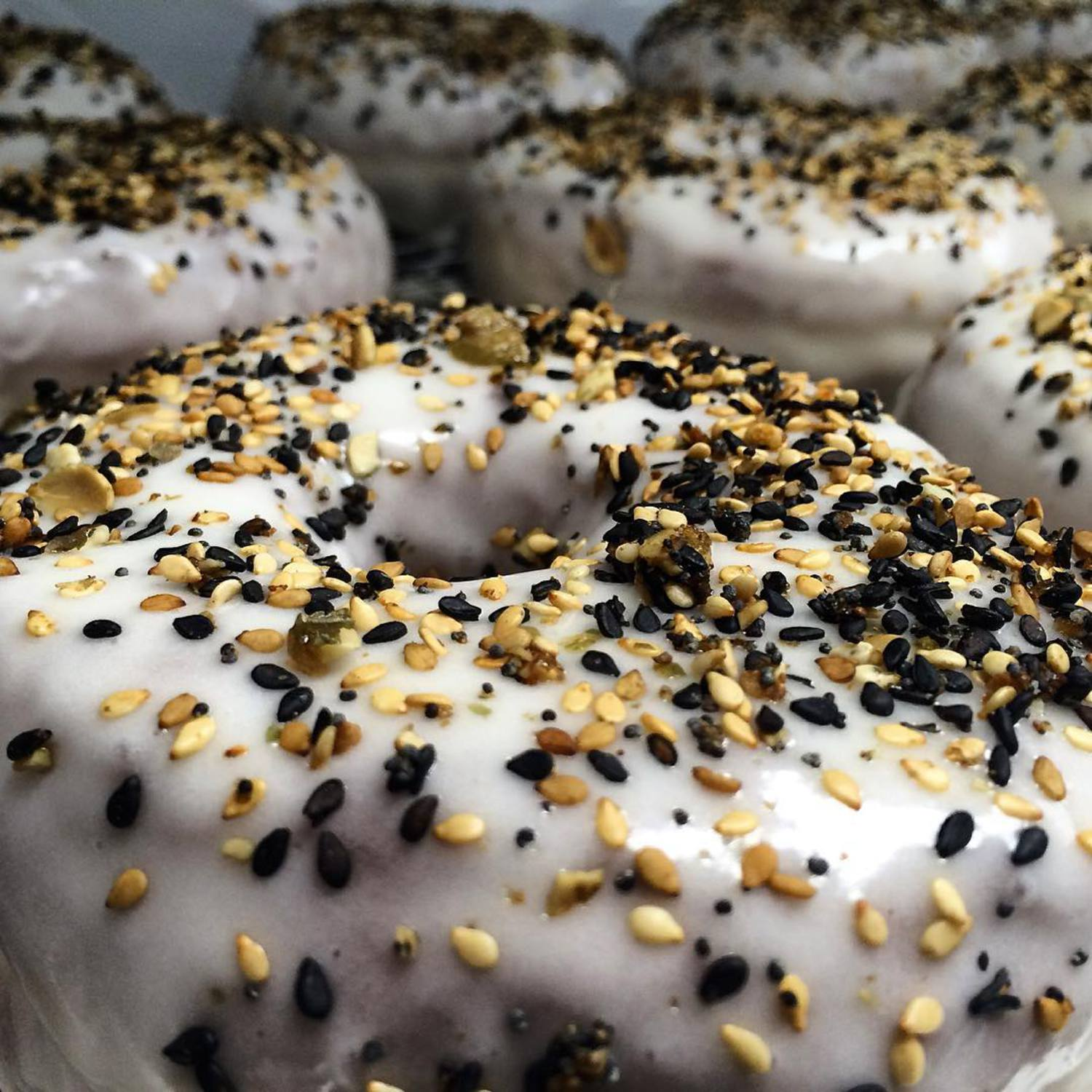 This is our new Everything Doughnut: Cream Cheese Glaze with Sesame Seeds, Poppy Seeds, Pepitas, Garlic & Sea Salt. 😋🍩 #TDPNYC #doughnuts #donuts #yum #nyc #newyork #everything #instadaily #instafood #instagood #fun #smile #westvillage #monday #wemakefun #enjoy #food #foodie