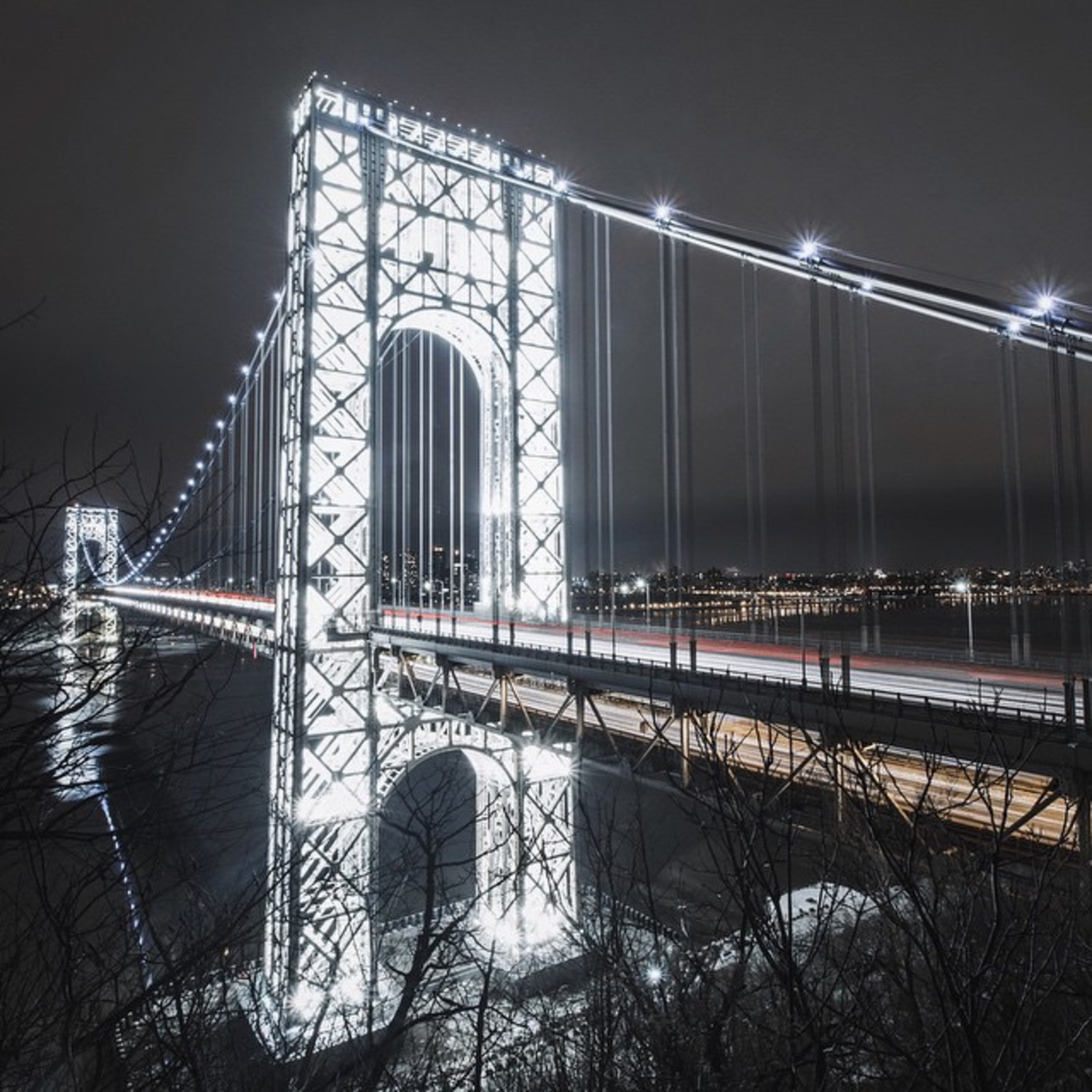 George Washington Bridge Illuminated at Night