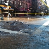 "Burst water main at Bleecker and Sullivan | Apparently a 12"" pipe ruptured: <a href=""http://www.dnainfo.com/new-york/20150115/greenwich-village/water-main-break-floods-greenwich-village-streets"" rel=""nofollow"">www.dnainfo.com/new-york/20150115/greenwich-village/water...</a>"