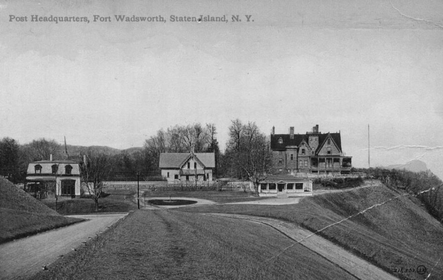"""Post Headquarters at Fort Wadsworth.\"" Photo circa 1910."