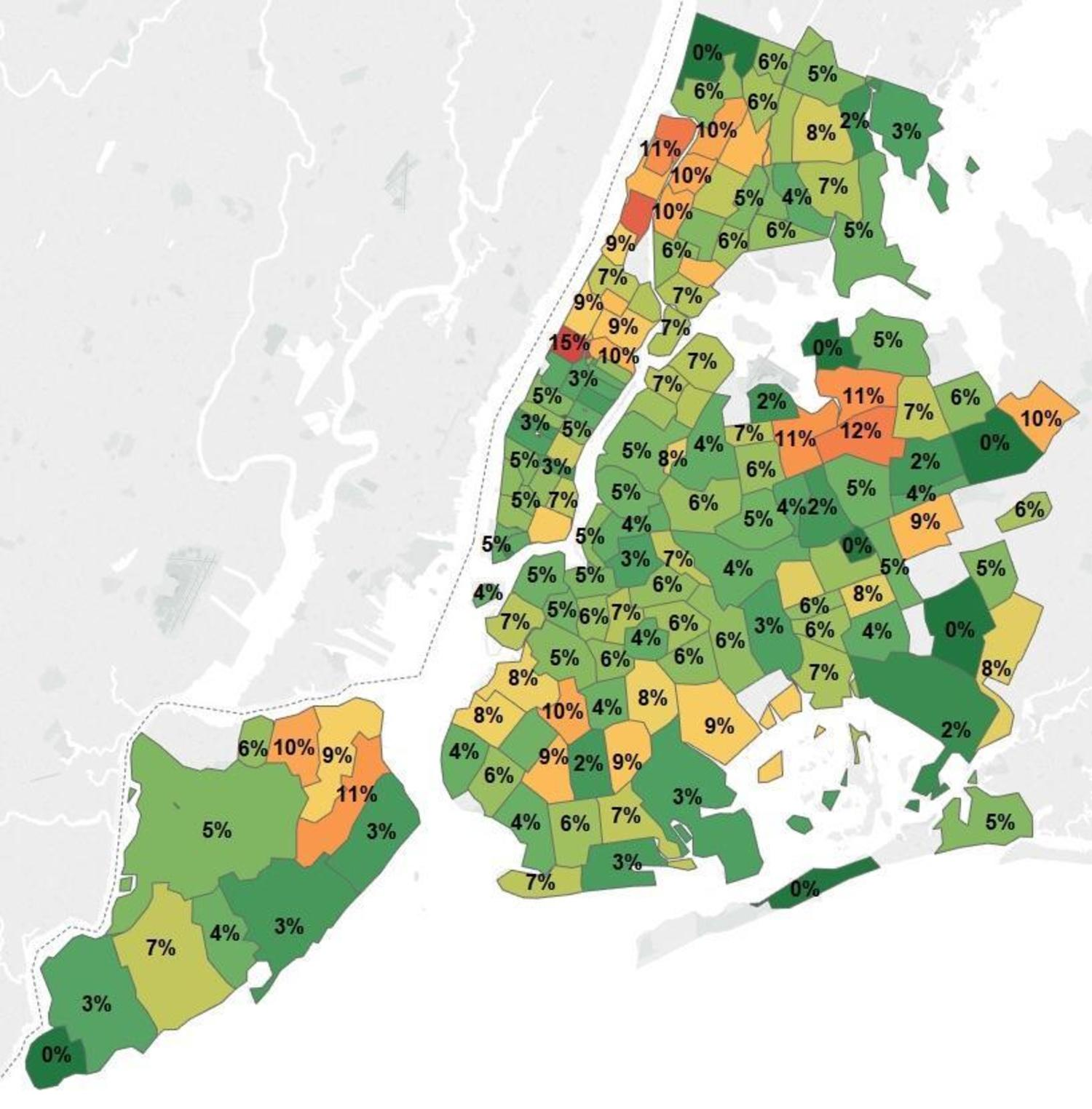 "NYC Health Inspection Data - % of Restaurants by ZIP Code Rated Worse than ""A"""