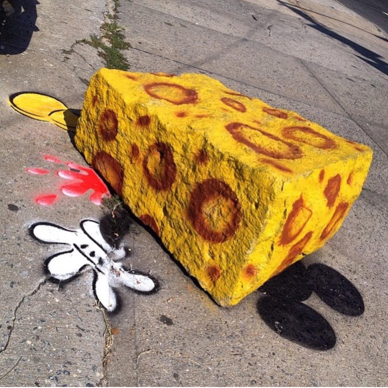 DEATH BY CHEESE!! 🧀🐭 #tbt #mickeymouse #splat #killed by #cheese #🧀 #brooklyn #newyorkcity #dumbo #nyc #mickey #🐭 #swisscheese 🧀 #boulder #nystreetart #tombobnyc #ripmickey #stencil #tombob #spongebob #deathbycheese 🧀☠️ #brooklynstreetart #3yrsold