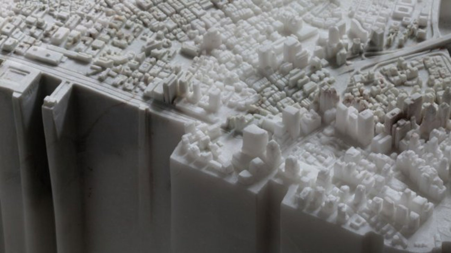 'Little Manhattan' replicates the island-city in 2.5 tons of marble.