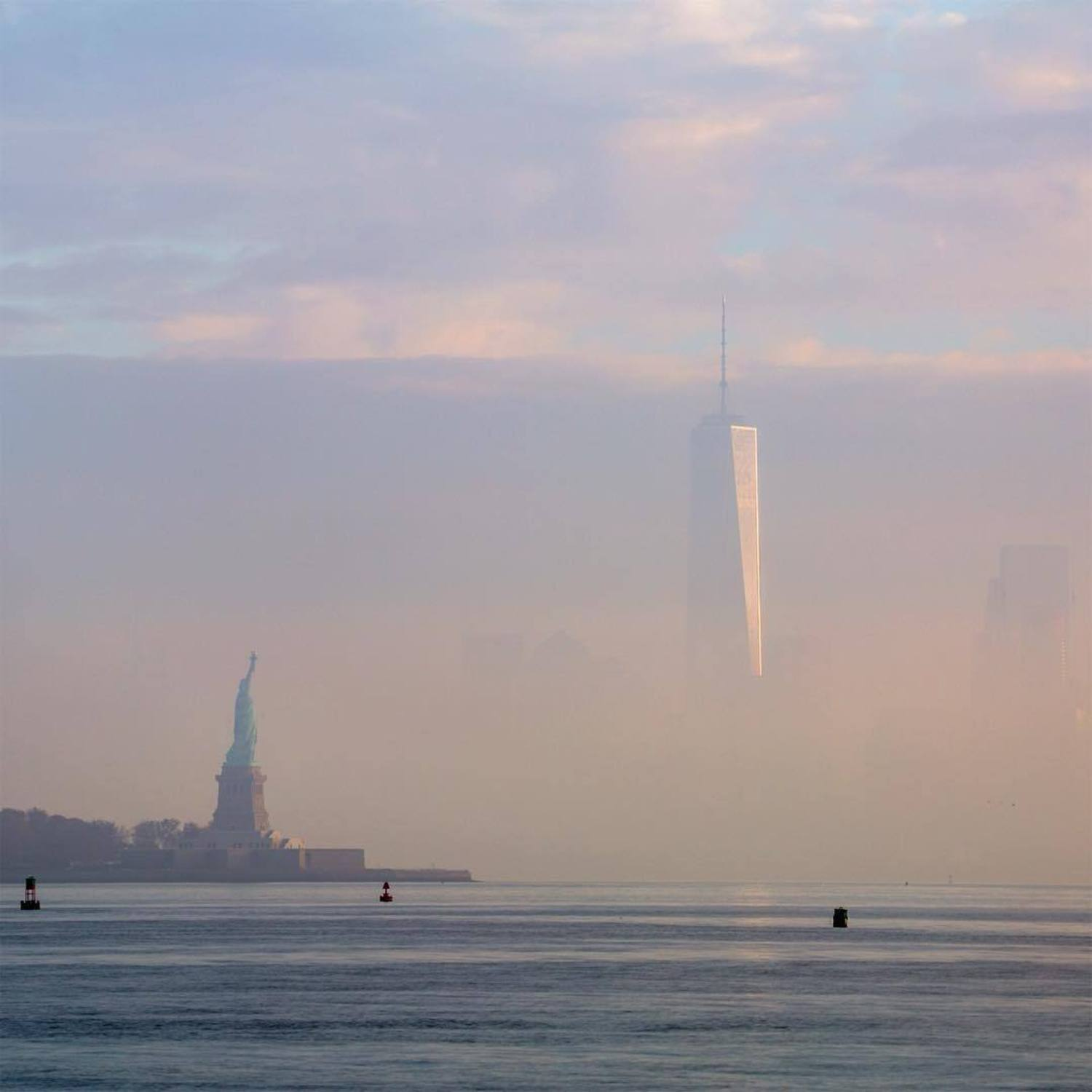 New York Harbor, Statue of Liberty, and One World Trade Center