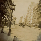 Street Level View of Gilsey House, Broadway, and 28th Street, 1896