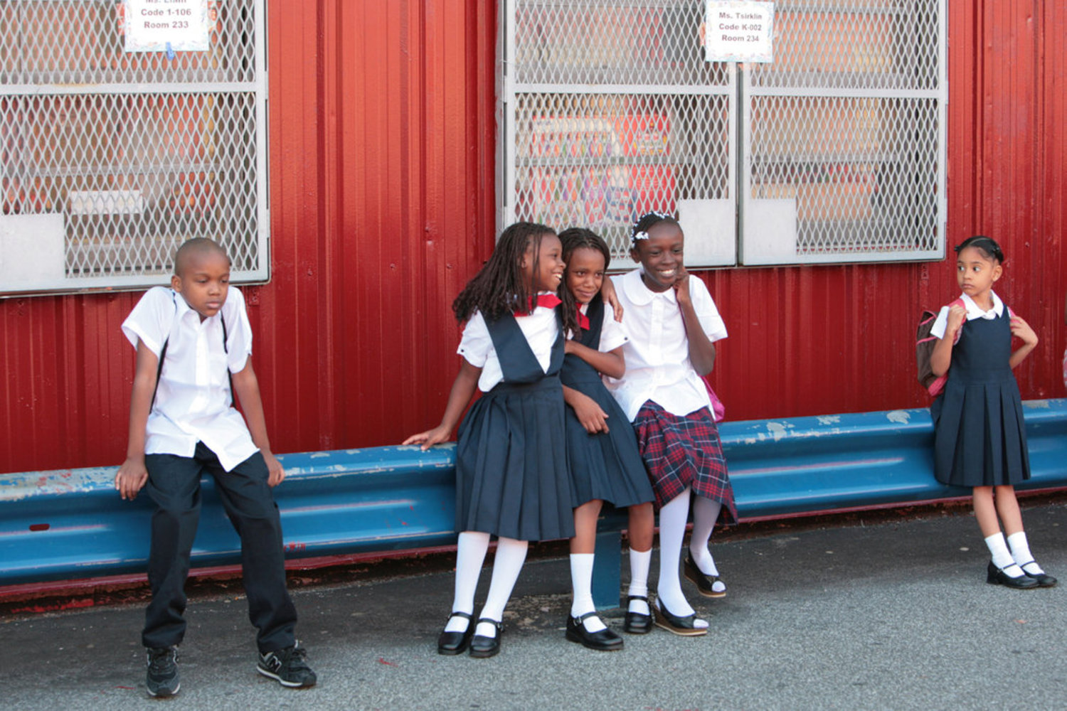 2000s - September 2007: Children waiting for their classes to begin at Public School 53 in the Bronx.