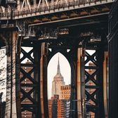 Empire State Building seen through Manhattan Bridge from DUMBO, Brooklyn