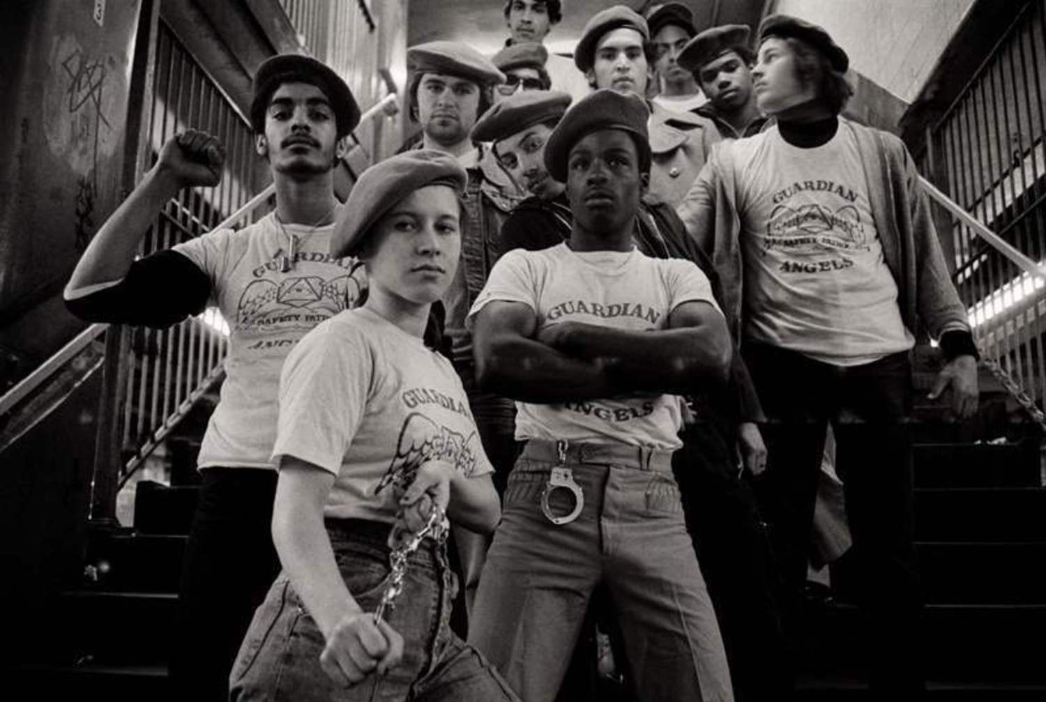 Crime also became a chronic issue for the subway stations at Times Square. Above, a team of the Guardian Angels -- a volunteer patrol group dedicated to making New York's subway system safe -- get ready to go on patrol in 1980.