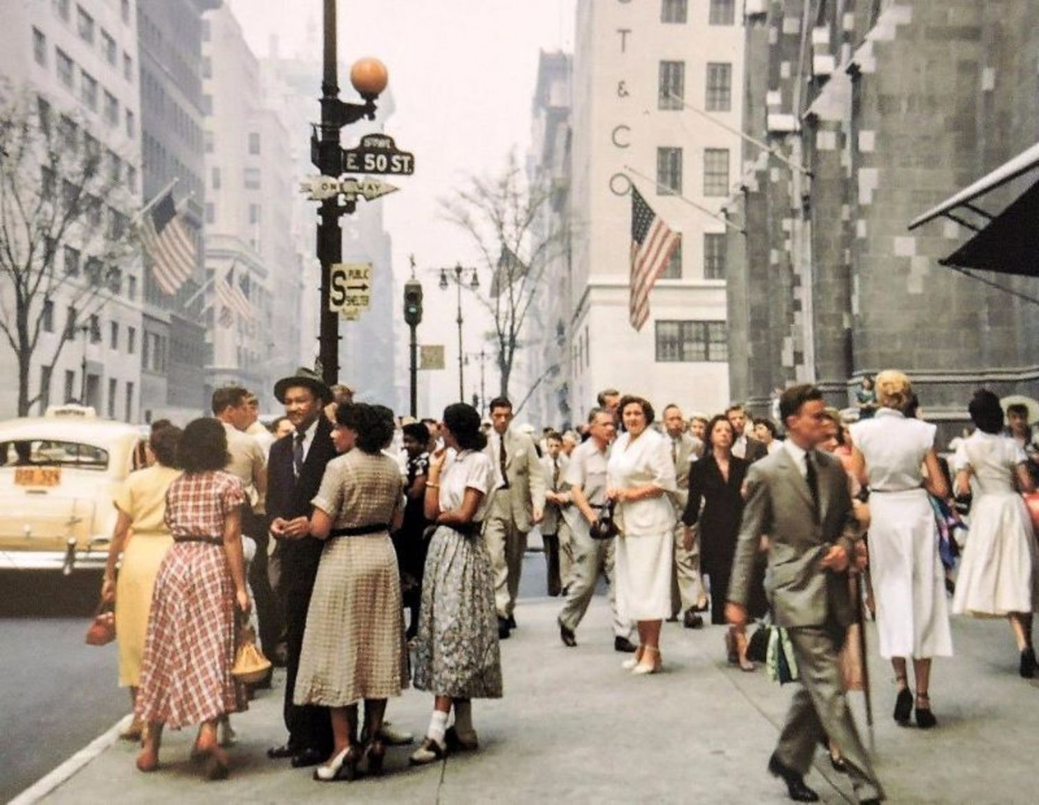 5th Avenue & 50th Street (St. Patrick's Cathedral on the right), 1956