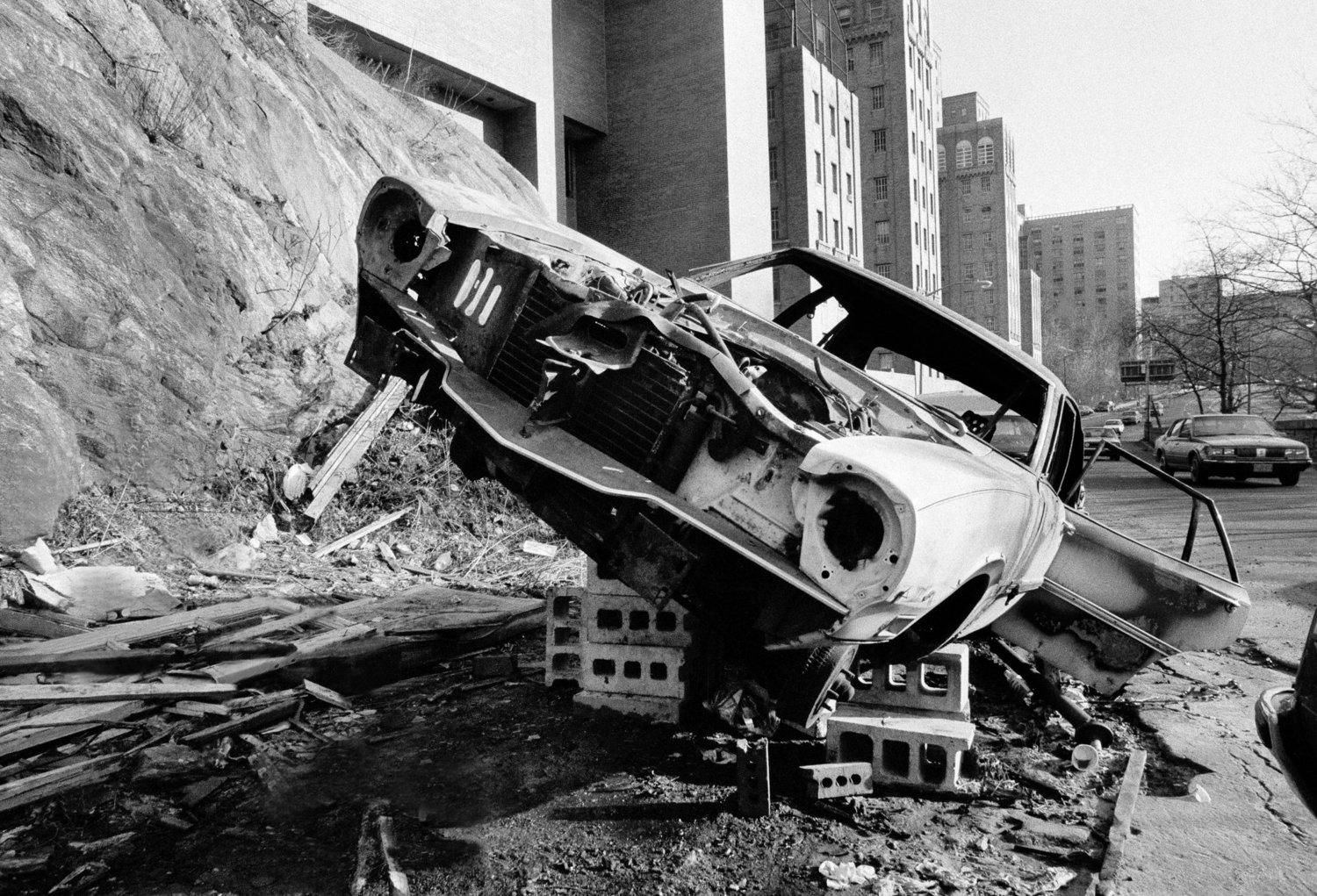 An abandoned car on Riverside Drive and 170th Street. March 15, 1984.
