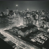 Pennsylvania Station seen at night seen from The New Yorker Hotel January 1941