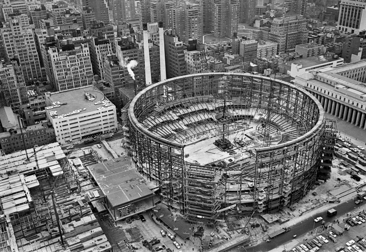 Vintage Aerial Photograph Of Madison Square Garden Under Construction In 1966 Viewing Nyc