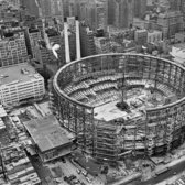 "Oct. 25, 1966: A 26-ton tension ring promised that ""There will be no obstructed views"" at Madison Square Garden, still under construction, and ""because the seating arrangement is oval, spectators in the end balcony are closer to the playing surface than those in the top-most seats along the sidelines,"" reported The Times."
