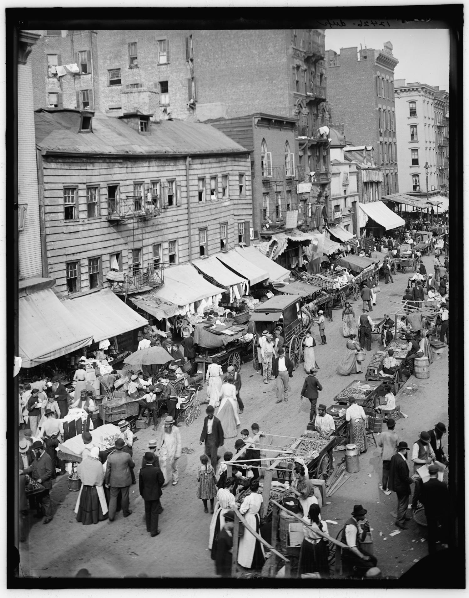 Jewish market on the East Side, New York, N.Y. ca. 1895