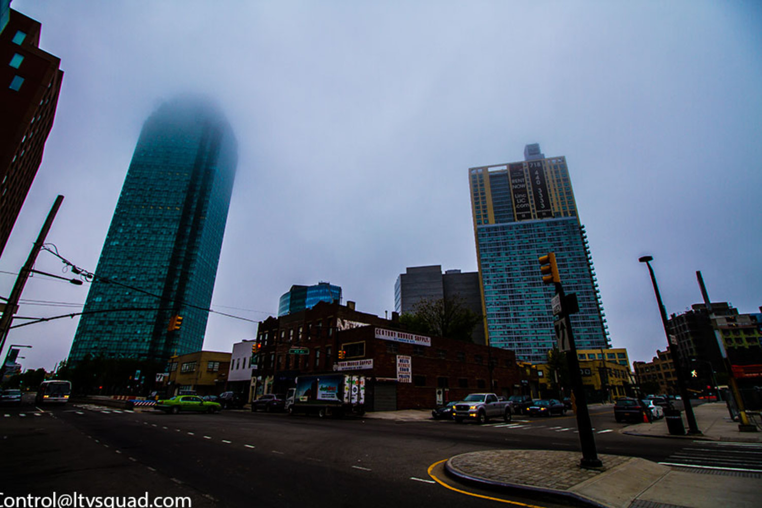 Citibank building in 2015 (on the left), the top gets lost in the clouds on rainy days…