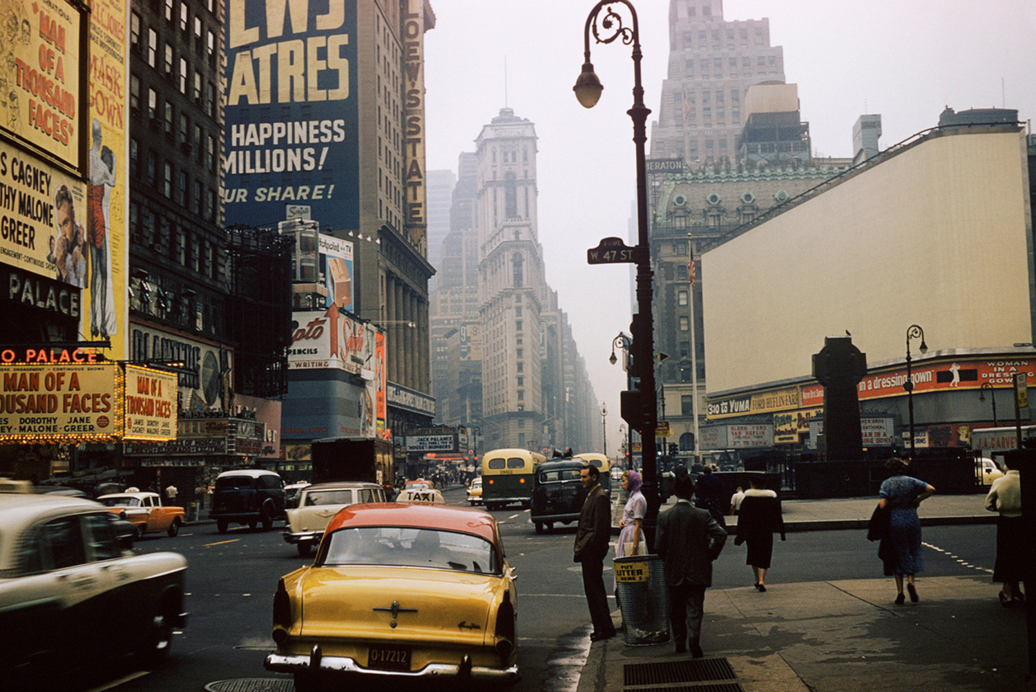 West 47th Street and 7th Avenue, Times Square, New York City, 1957