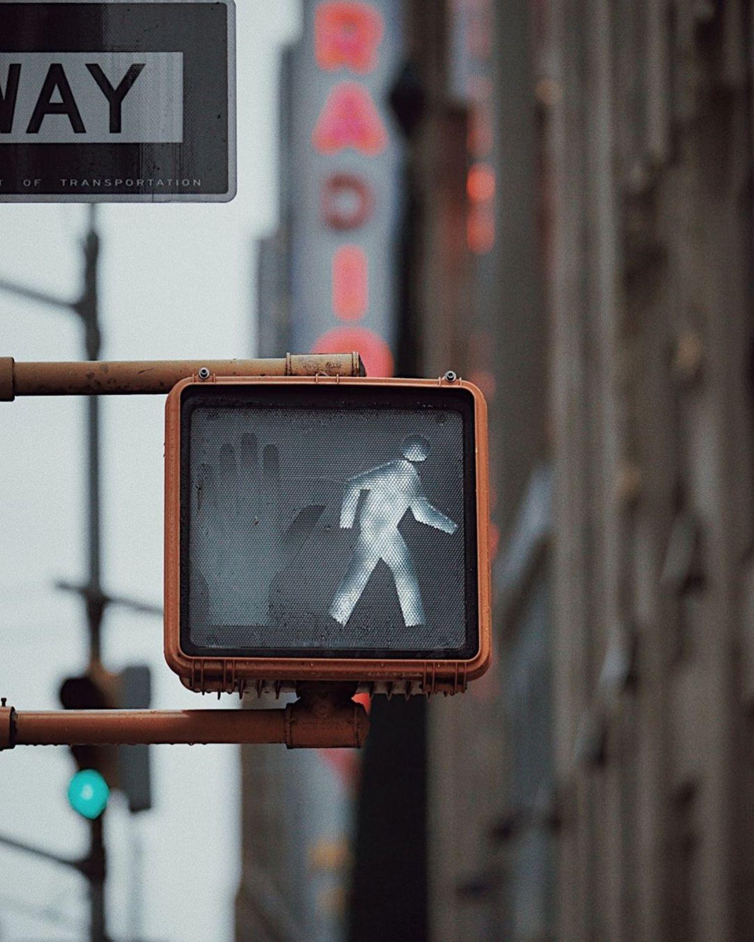 Traffic Light outside Radio City Music Hall, Midtown, Manhattan