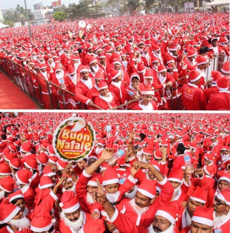 Buon Natale Thrissur.The Real Santacon Guinness World Record Set For Largest Gathering