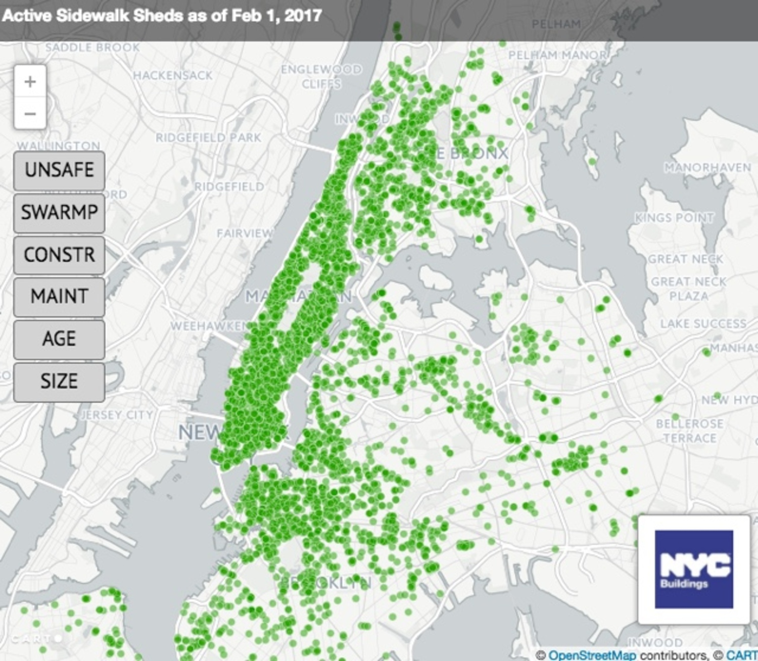 Interactive Map Of New York City.Sidewalk Sheds Map Viewing Nyc
