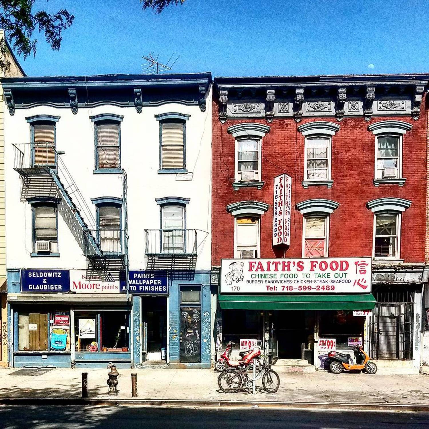 Houses and storefronts in Williamsburg, Brooklyn.
