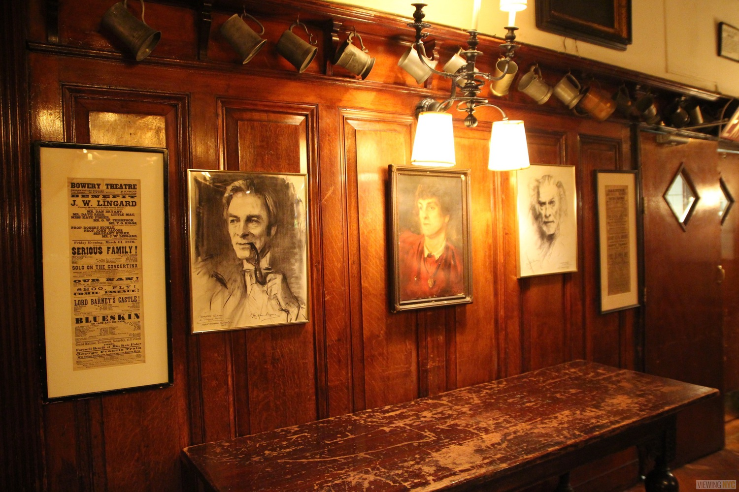 Portraits and Beer Mugs in Dining Room