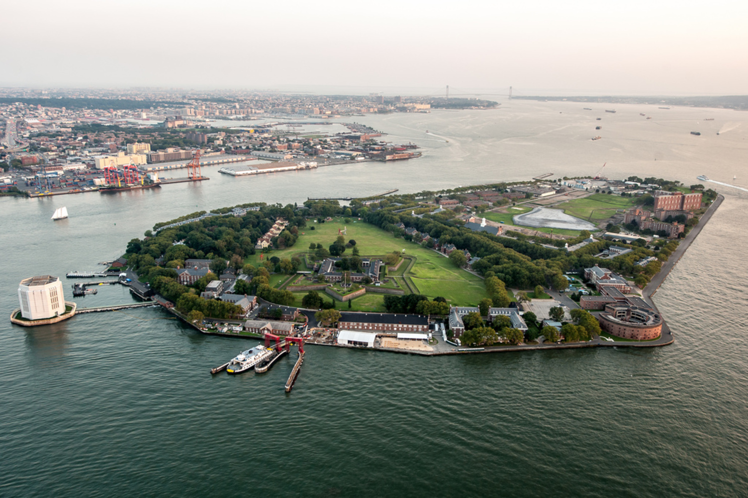 "Governors Island Aerial | NEW YORK - AUGUST 2: Aerial view of Governors Island on  August 2, 2012 in New York. Located in Upper New York Bay between Manhattan and Brooklyn, Governors Island is home to historical fortifications, Fort Jay and Castle Williams. <a href=""http://www.keithsherwood.com"" rel=""nofollow"">www.keithsherwood.com</a>"