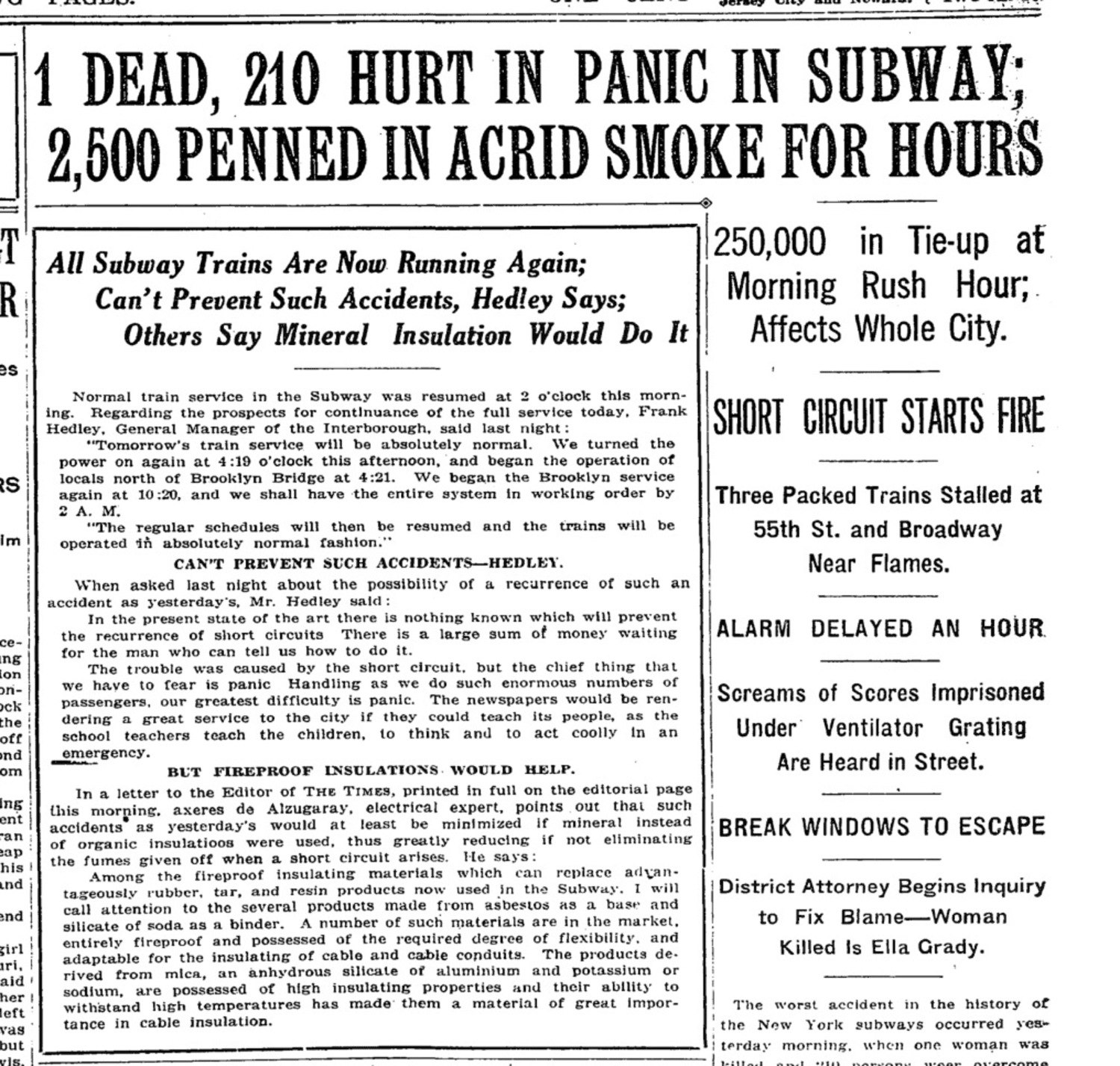 1 Dead, 210 Hurt in Panic in the Subway; 2,500 Penned in Acrid Smoke For Hours